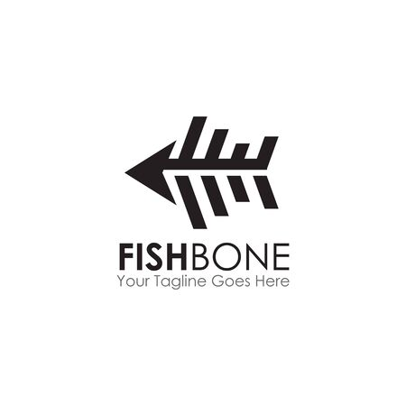 Restaurant logo design with using fish bone graphic icon illustration template Ilustrace