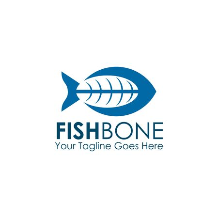 Restaurant logo design with using fish bone graphic icon illustration template Illustration