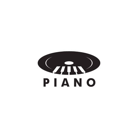 Piano logo design vector illustration template for music instrument Illustration
