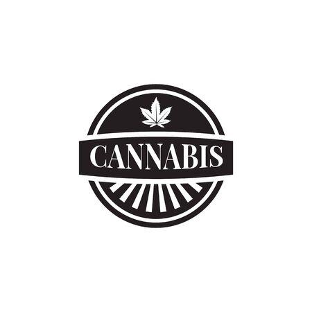 Cannabis leaf icon logo design inspiration vector template