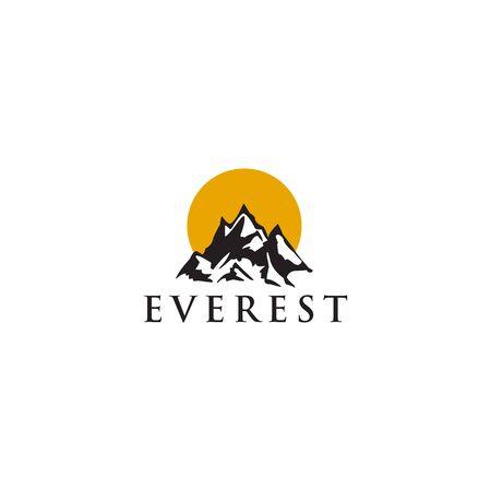 Modello di illustrazione vettoriale di ispirazione per il design del logo dell'icona della montagna