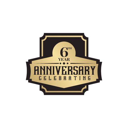 6th year celebration anniversary  design  template Ilustração