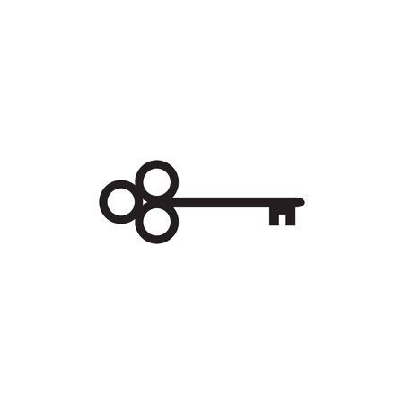 Simple key logo icon design vector illustration template