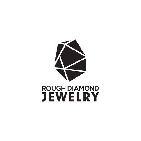 Modello di illustrazione vettoriale di progettazione di logo di diamante grezzo grezzo