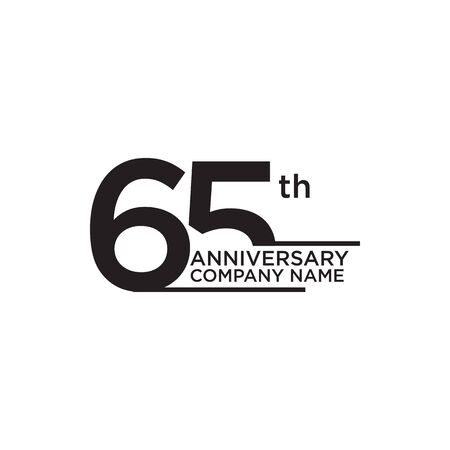 65th year anniversary icon logo design vector template 일러스트