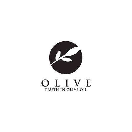 Olive oil company logo design vector illustration template Logó