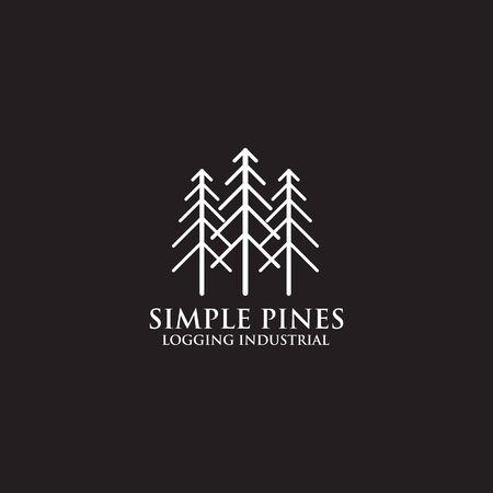 Pine tree icon logo design vector template