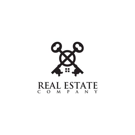 Real estate logo design with using crossed key illustration vector template Illustration