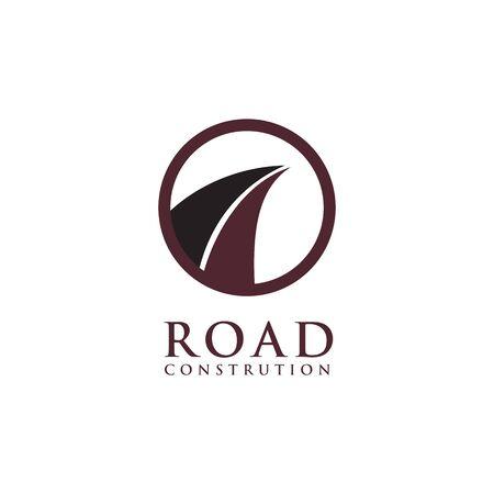 Road construction company logo design vector illustration template