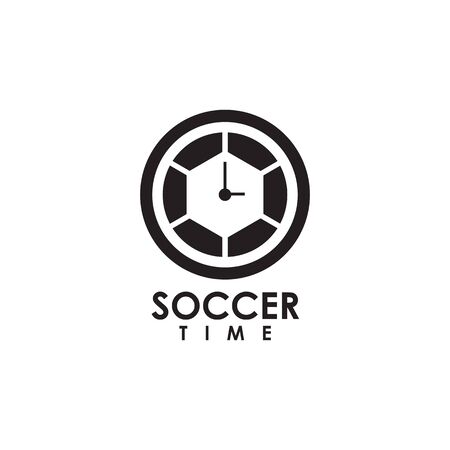 Soccer time logo design vector illustration template