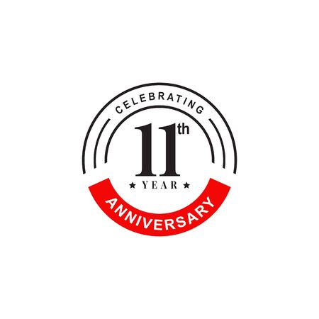 11th year anniversary logo design vector illustration template
