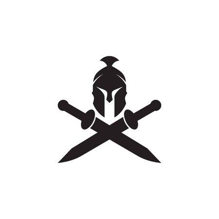 Spartanischer Krieger Helm Logo Design Vektor Illustration Vorlage Logo