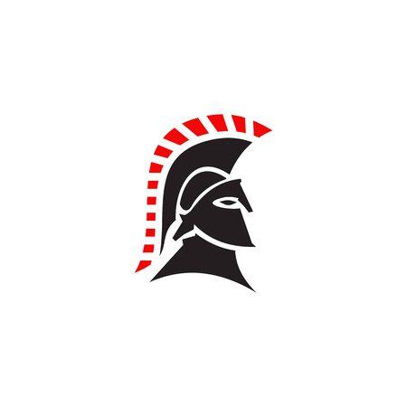 Spartan warrior helmet logo design vector illustration template Illustration