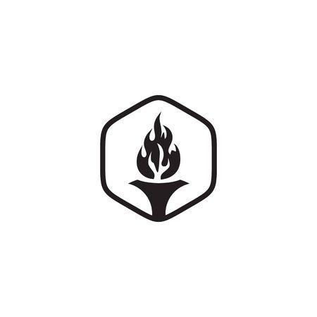 Torch logo design vector illustration template