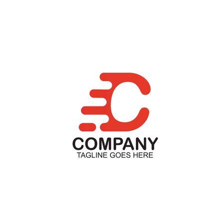 C Motion letter logo design vector template ilustration