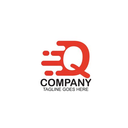 Q Motion letter logo design vector template ilustration