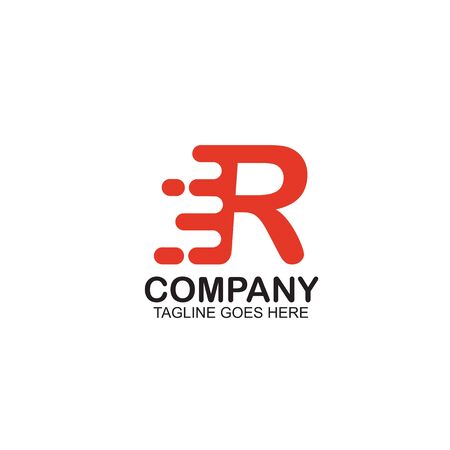 R Motion letter logo design vector template ilustration
