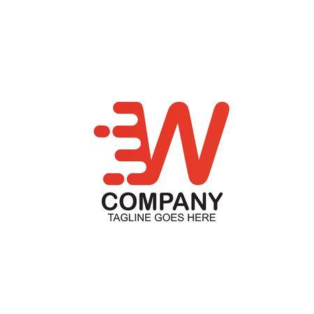 W Motion letter logo design vector template ilustration  イラスト・ベクター素材