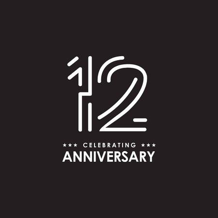 12th year anniversary emblem design vector illustration template Vector Illustratie