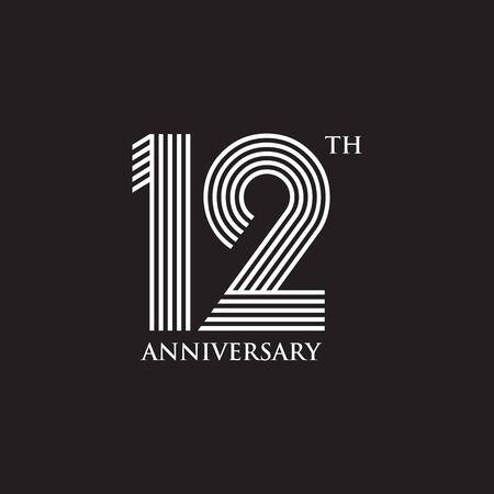 Plantilla de ilustración de vector de diseño de emblema de aniversario de 12 años