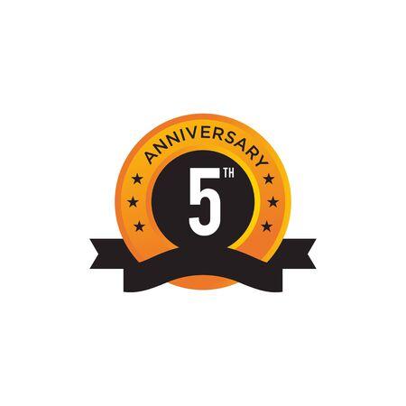 5th year anniversary emblem design vector illustration template