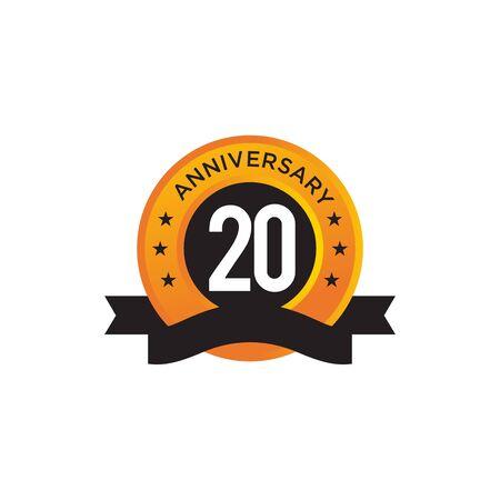 20th year anniversary emblem design vector illustration template