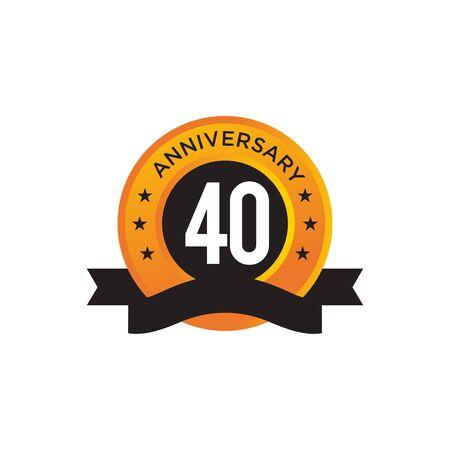 40th year anniversary emblem design vector illustration template