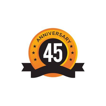 45th year anniversary emblem design vector illustration template