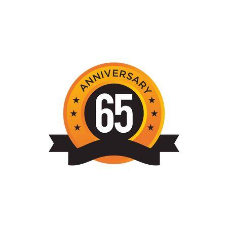65th year anniversary emblem design vector illustration template Ilustracja