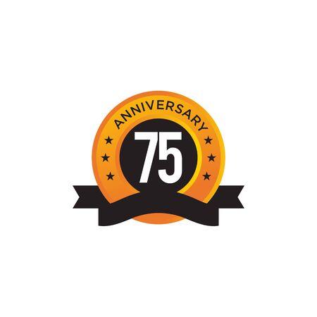 75th year anniversary emblem design vector illustration template Ilustracja