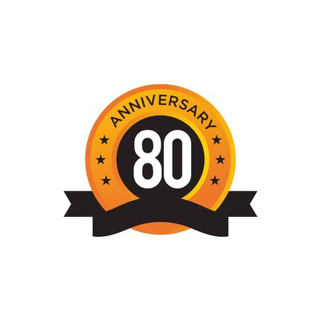 80th year anniversary emblem design vector illustration template Ilustracja