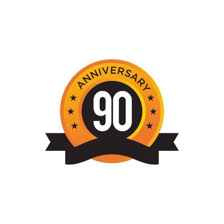 90th year anniversary emblem design vector illustration template