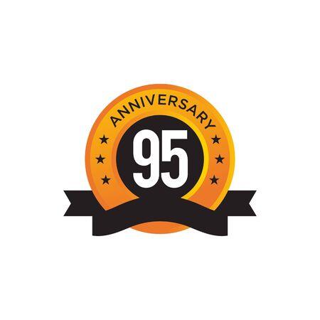 95th year anniversary emblem design vector illustration template