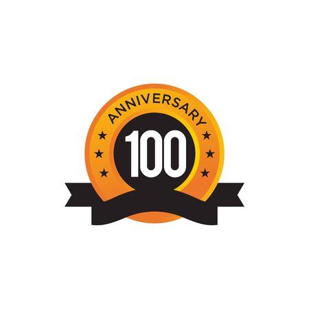 100th year anniversary emblem design vector illustration template