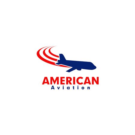 American aviation design inspiration with using plane and american color design template Иллюстрация