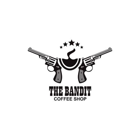 Bandit coffee logo design icon vector template