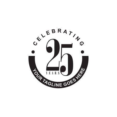 25th year anniversary emblem design vector template