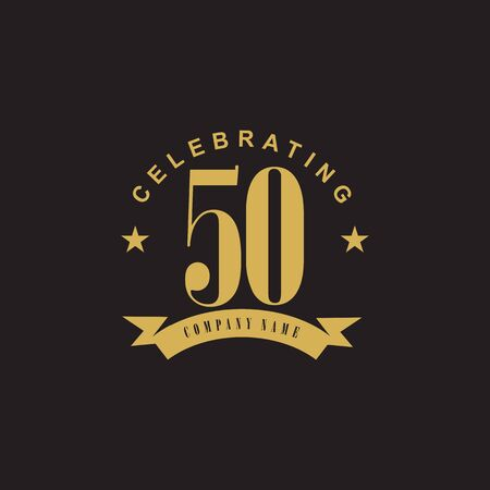 50th year anniversary emblem design icon vector template