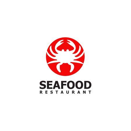Seafood restaurant with crab icon design template Stock Illustratie