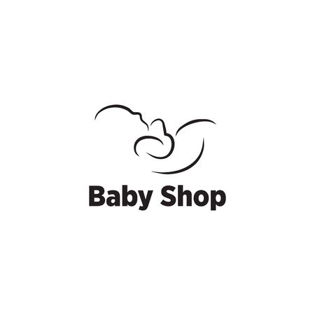 Baby shop logo design with using baby icon graphic line art template Ilustrace