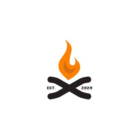 Flames logo design with fire and wood icon template illustration Ilustrace
