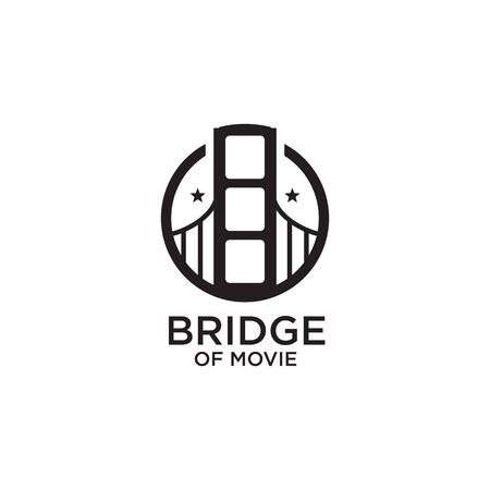 Movie maker company logo design with using bridge icon corporated with frame illustration