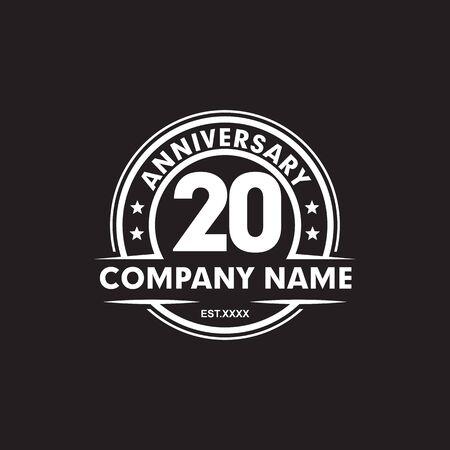 20th year anniversary emblem logo icon design vector template