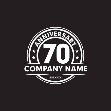 70th year anniversary emblem logo icon design vector template
