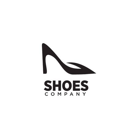 Woman shoes logo design vector illustration template Stock Illustratie