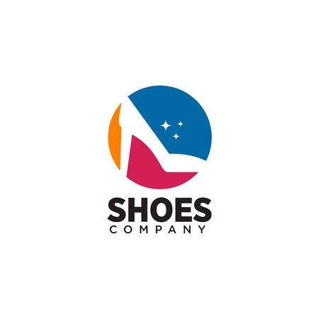 Woman shoes logo design vector illustration template