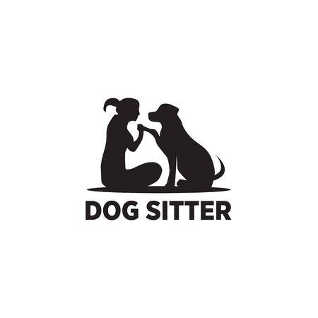 Dog sitter logo icon design vector illustration template