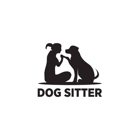 Plantilla de ilustración de vector de diseño de icono de logotipo de cuidador de perros