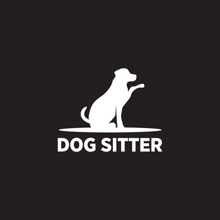 Dog sitter logo icon design vector illustration template