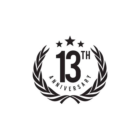 13th year celebrating anniversary emblem logo design vector template Illustration